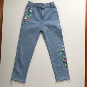 Vintage Embroidered 'Cheep' cropped stretch jeans